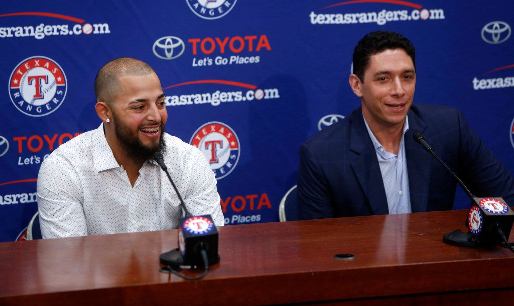 Texas Rangers second baseman Rougned Odor (left) and Texas Rangers general manager Joe Daniels speak during a press conference at Globe Life Park in Arlington, Texas on Thursday, March 30, 2017. Rougned Odor has signed a six-year contract extension with the Rangers. (Rose Baca/The Dallas Morning News)