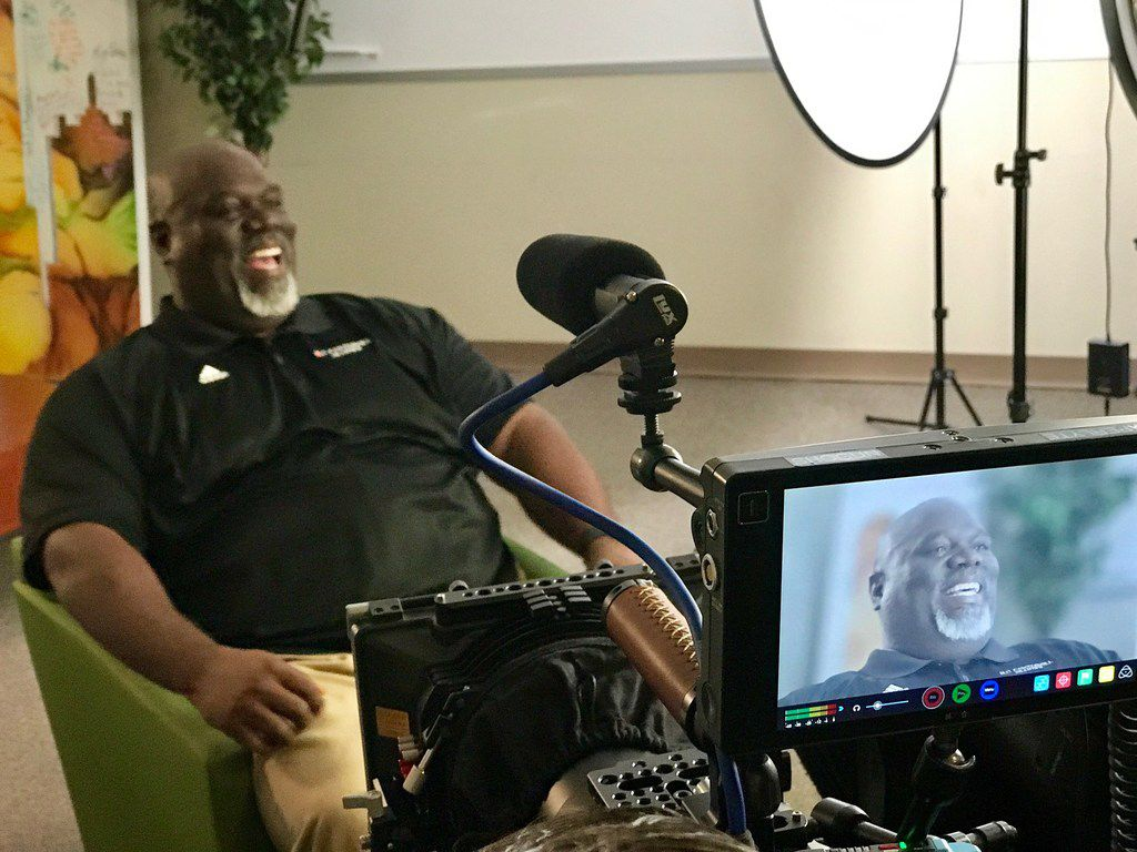 Russell Maryland during the filming of his PSA.