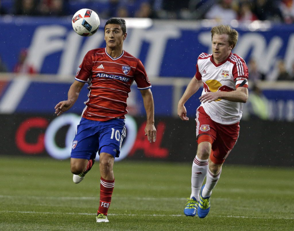Apr 29, 2016; Harrison, NJ, USA; FC Dallas midfielder Mauro Diaz (10) controls the ball in front of New York Red Bulls midfielder Dax McCarty (11) during the first half at Red Bull Arena. Mandatory Credit: Adam Hunger-USA TODAY Sports