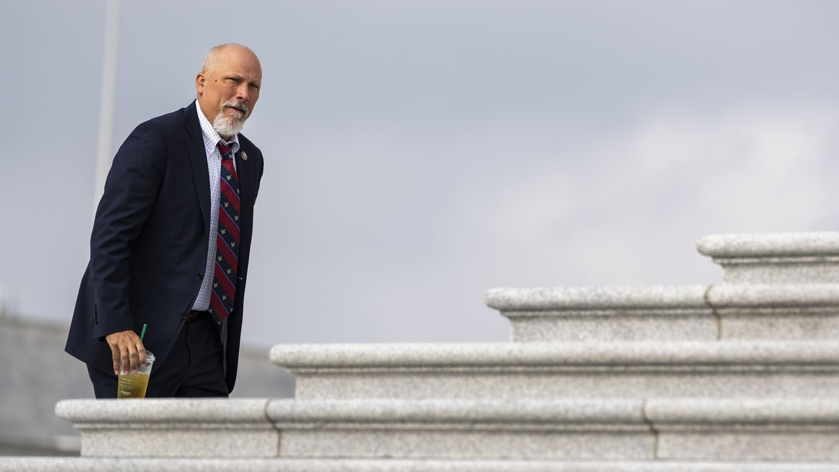 WASHINGTON, DC - JULY 29: Rep. Chip Roy (R-TX) walks up the steps of the U.S. Capitol before a news conference with House Republicans on July 29, 2021 in Washington, DC. McCarthy and Republicans criticized the Biden administration on a wide array of issues, including the CDC's new guidance on indoor masking due to the Delta variant of the coronavirus. (Photo by Drew Angerer/Getty Images)