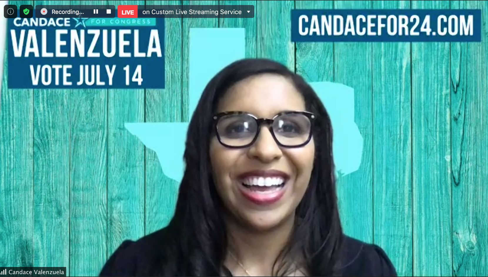 Candace Valenzuela declares victory and thanks her supporters, after defeating Kim Olson in the 2020 Democratic primary runoff election. The two were fighting to face Republican candidate Beth Van Duyne in the fight to fill Texas' 24th Congressional District seat being vacated by retiring U.S. Rep. Kenny Marchant, R-Coppell. The seat is a national Democratic target after Marchant won reelection two years ago by a surprisingly small margin.
