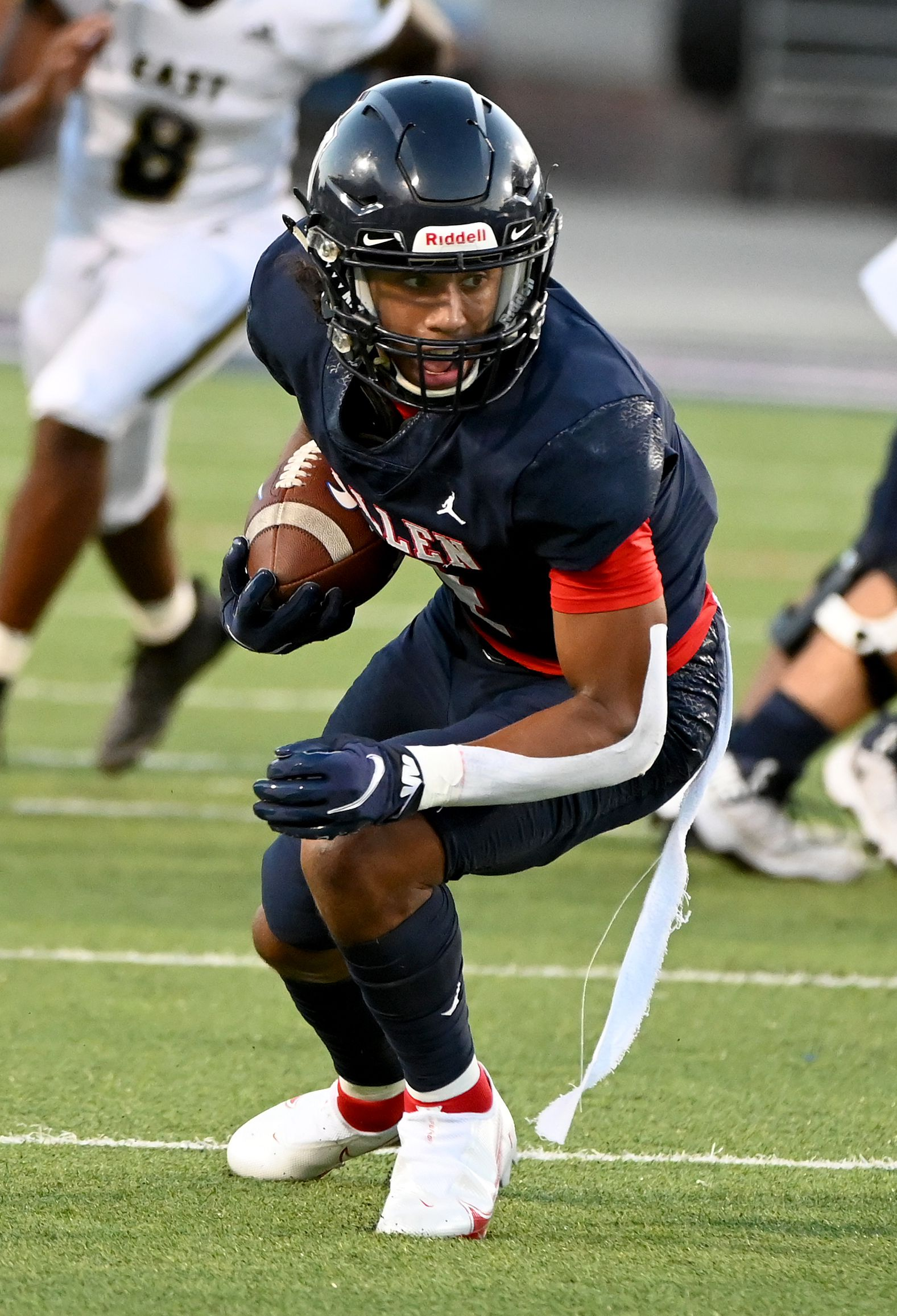 Allen's Jordyn Tyson catches a pass in the first half during a high school football game between Plano East and Allen, Friday, Aug. 27, 2021, in Allen, Texas. (Matt Strasen/Special Contributor)