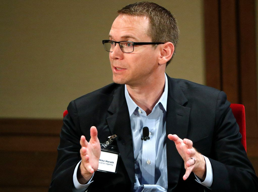Mike Morath, commissioner of the Texas Education Agency, responds to a question during the education investors meeting at the George W. Bush Institute in Dallas on Oct. 17.