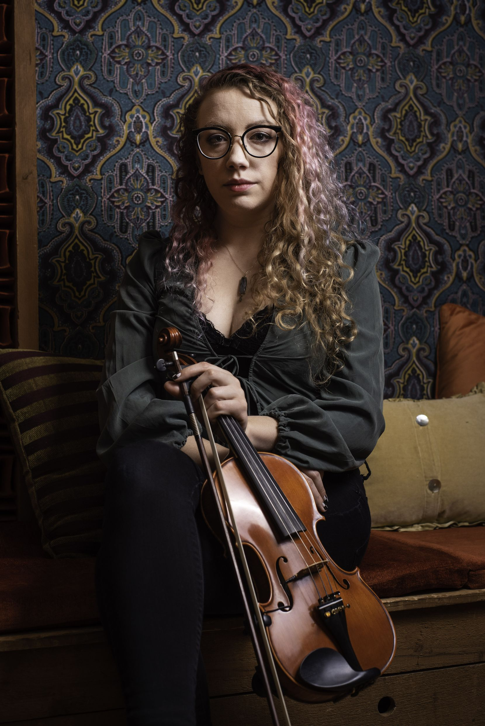 Musician Scarlett Deering, 29, at Acoustic Kitchen Recording Studio in Dallas, Tuesday, March 17, 2020.