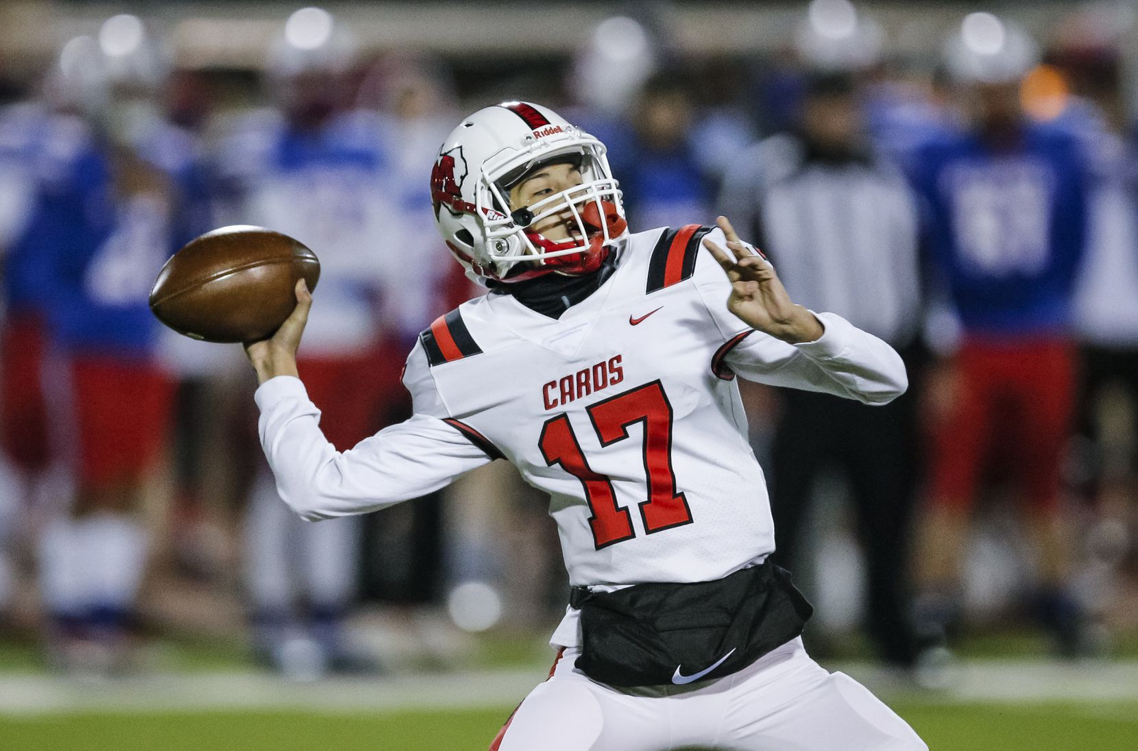 Irving MacArthur sophomore quarterback Glendon Casas-Willis (17) throws during the first half of a high school playoff football game against JJ Pearce at Eagle-Mustang Stadium in Richardson, Thursday, December 3, 2020. (Brandon Wade/Special Contributor)