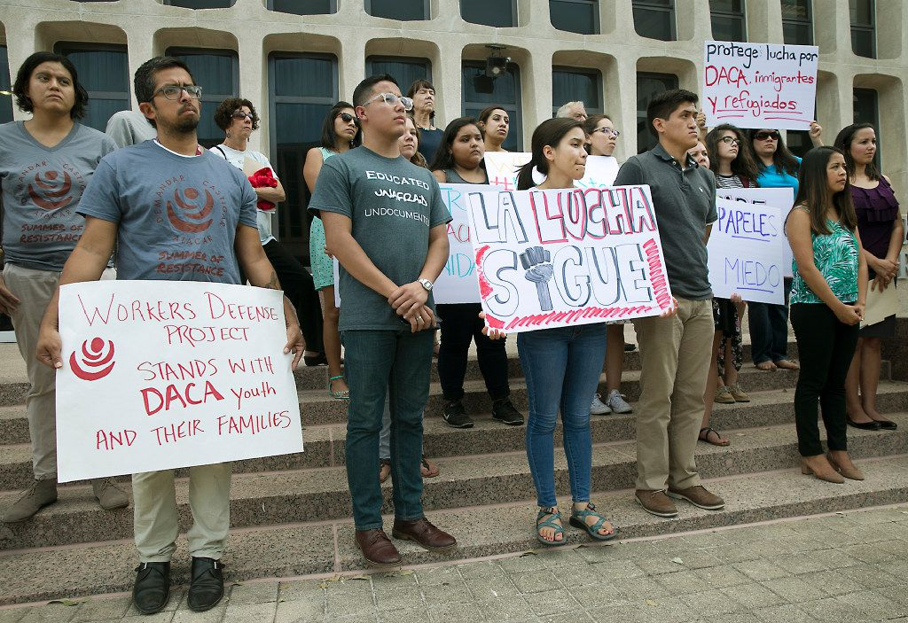 Students, parents and allies gathered on the plaza of the J.J.Pickle Federal Building in Austin on Tuesday, Sept. 5, 2017, to protest President Donald Trump's decision to rescind DACA.