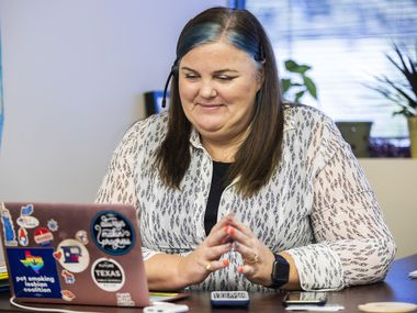 Representative Michelle Beckley (D) calls constituents at her campaign office on Friday, November 1, 2019 in Carrollton. (Ashley Landis/The Dallas Morning News)