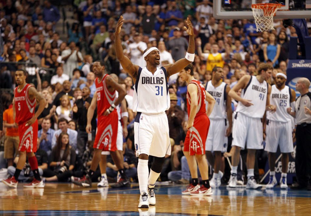Dallas Mavericks shooting guard Jason Terry (31) reacts towards fans after getting up after falling during a play in the second half during NBA basketball action between the Dallas Mavericks and the Houston Rockets at the American Airlines Center on Wednesday, April 18, 2012. (Lara Solt/The Dallas Morning News)