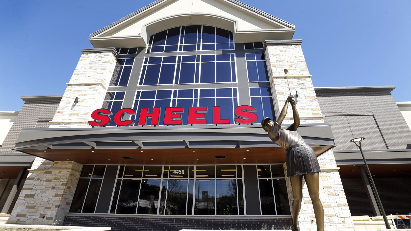 The massive Scheels sporting goods store at the Grandscape retail development in The Colony, shown on March 5.