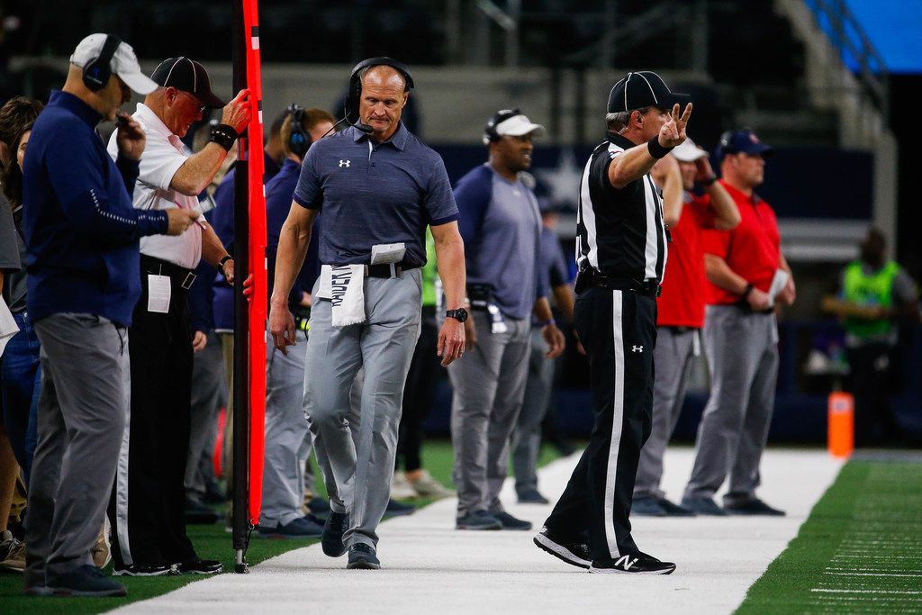 Denton Ryan head coach on the sideline in the first quarter of a Class 5A Division I state championship game against Alvin Shadow Creek at the AT&T Stadium in Arlington, on Friday, December 20, 2019. Shadow Creek leads at halftime 14-8. (Juan Figueroa/The Dallas Morning News)