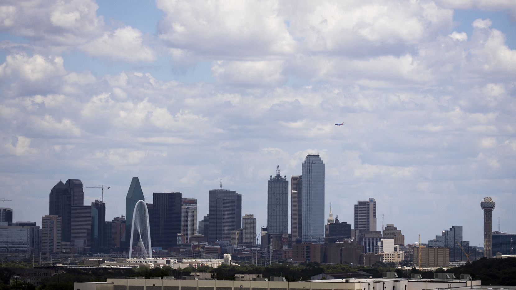The Dallas Skyline as seen form  the Henry Wade Juvenile Center in Dallas.