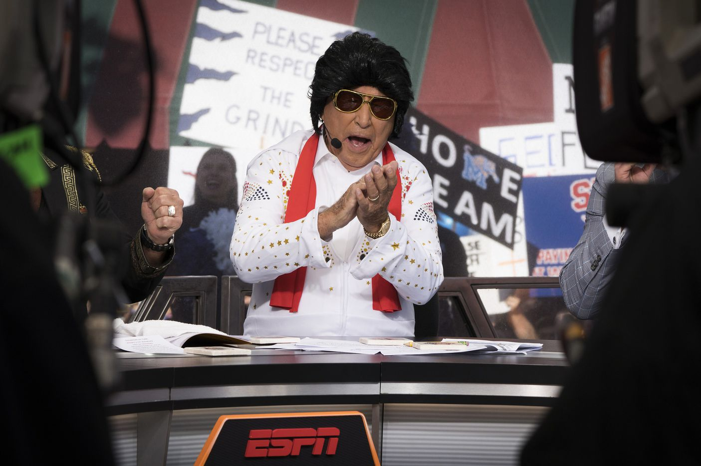 Lee Corso wears an Elvis costume on the set during ESPN College GameDay on Beale Street before an NCAA football game  between Memphis and SMU on Saturday, Nov. 2, 2019, in Memphis, Tenn.