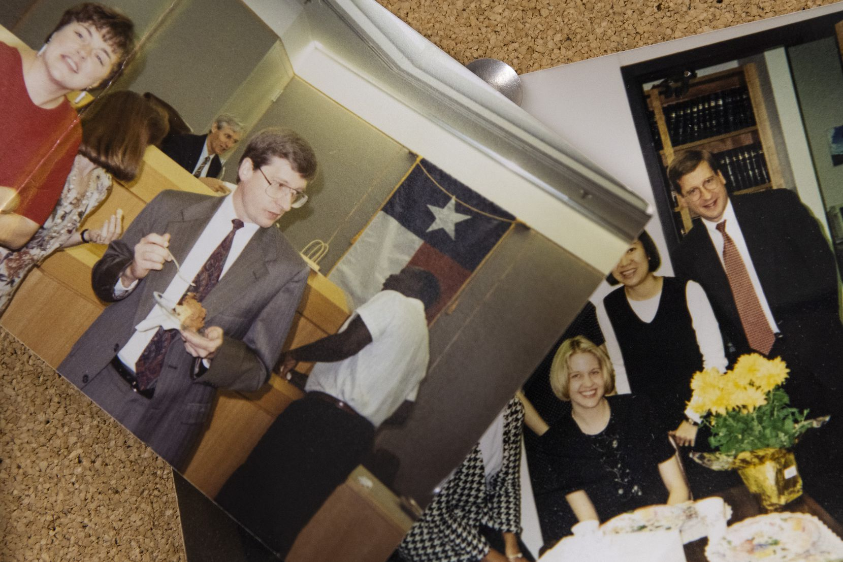 Old photos of Dallas County Chief Staff Attorney Kerry Young are posted in his conference room at the Frank Crowley Criminal Courts building.