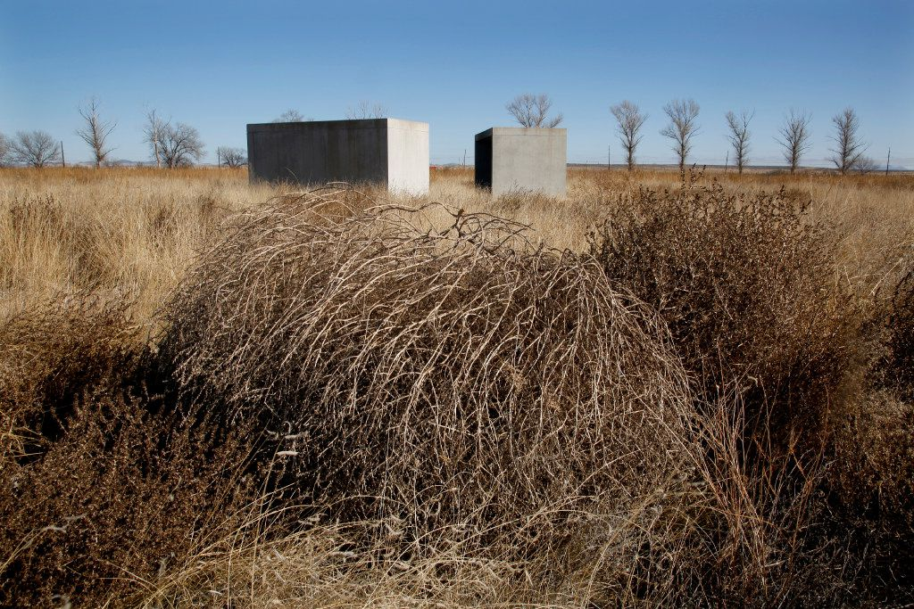 Tumbleweeds near some of the Donald Judd, 15 untitled works in concrete, 1980-1984 at the Chinati Foundation in Marfa, Texas. (Guy Reynolds/ Dallas Morning News, © 2017 Judd Foundation / Artists Rights Society (ARS), New York)