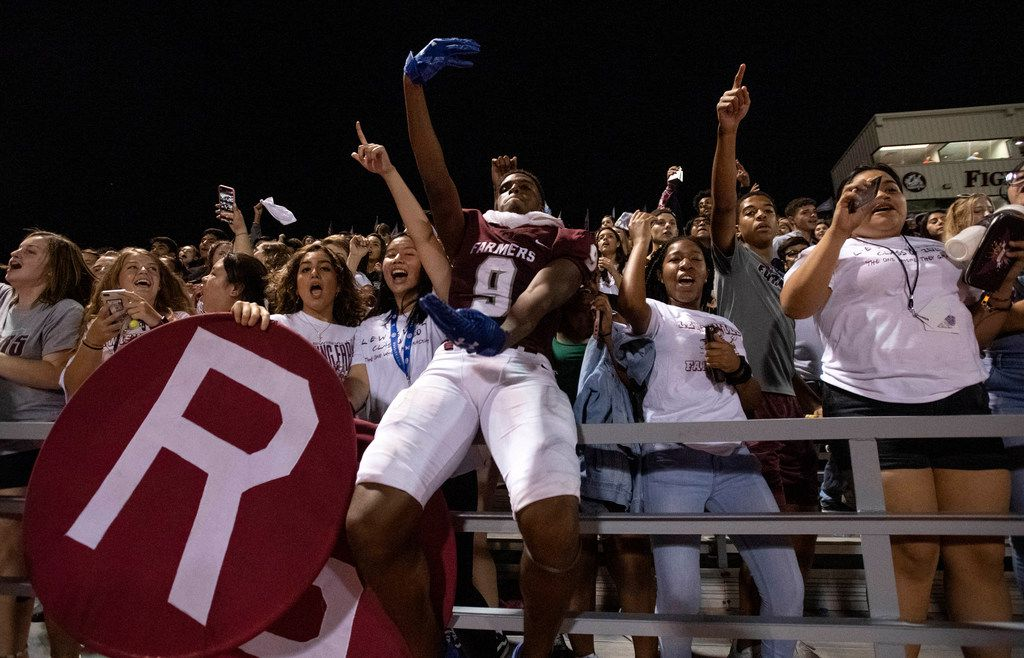 Lewisville sophomore wide receiver Armani Winfield (9) celebrates his team's 41-16 victory over McKinney Boyd with fans after a high school football game on Friday, September 13, 2019 at Max Goldsmith Stadium in Lewisville. (Jeffrey McWhorter/Special Contributor)