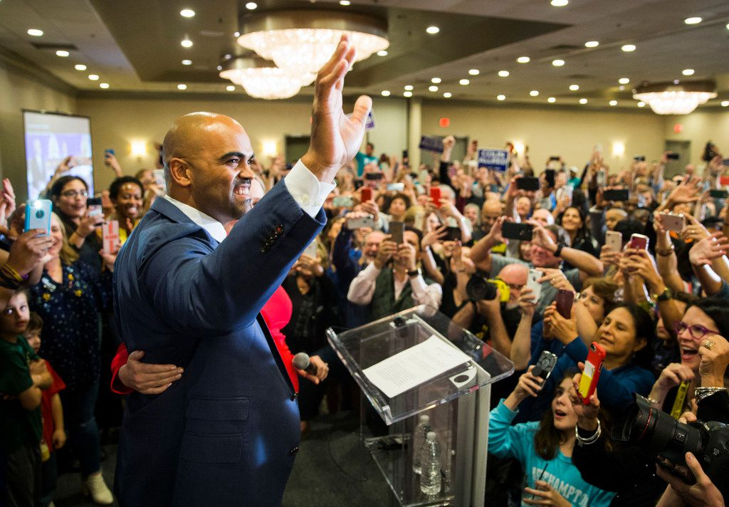 Colin Allred thanked his supporters at the Magnolia Hotel in Dallas after winning the Nov. 6 election for a U.S. House seat.