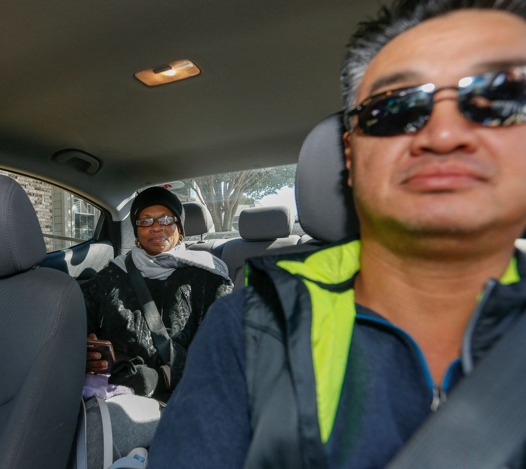Lyft driver Chuck Wong picks up DART customer Silvia Morris from her Plano home to visit a friend in a nearby Dallas nursing home Saturday October 28, 2018. Morris is one of 160 DART paratransit customers in a pilot program to make ride scheduling more spontaneous. (Ron Baselice/The Dallas Morning News)
