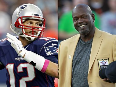 (Left): Former New England Patriots, current Tampa Bay Buccaneers quarterback Tom Brady; (Right) Former Dallas Cowboys running back Emmitt Smith