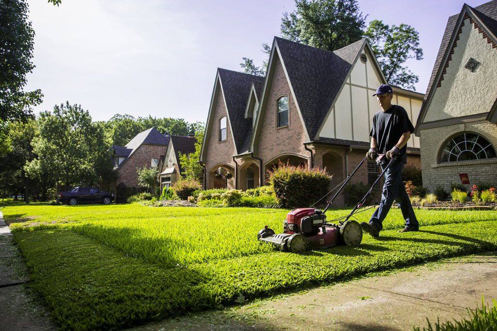 Joel McCloskey of the lawn care service Robin cuts the grass of a house in the M Streets in Dallas.