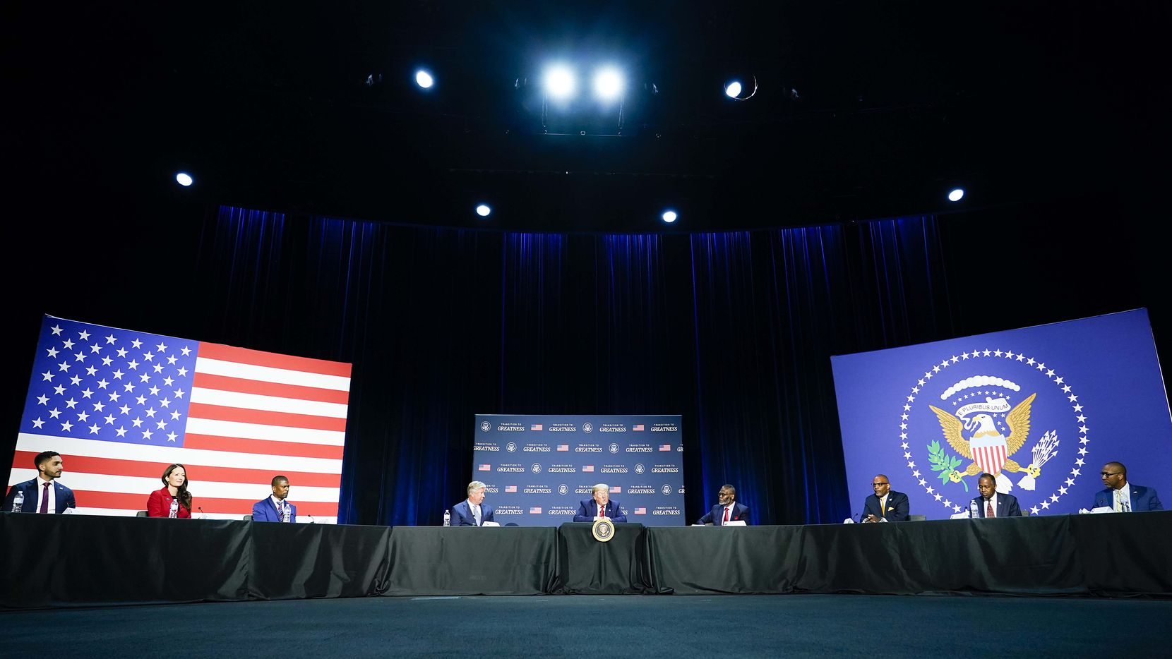 President Donald Trump speaks during a roundtable conversation about race relations and policing at Gateway Church Dallas Campus on Thursday.
