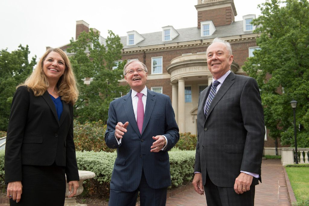Marci Armstrong, associate dean of SMU Cox School of Business, with donor Hal Brierley, center, and Cox Dean Al Niemi. Brierley is donating $10 million for the first academic institute devoted to the study of customer engagement.