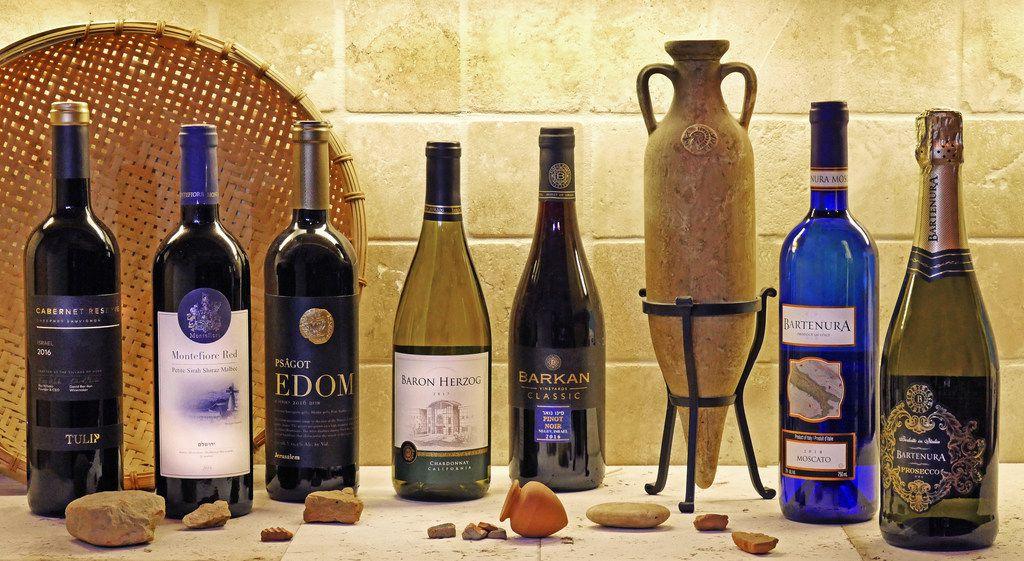 Kosher wines, left to right: Tulip Reserve Cabernet Sauvignon, Montefiore Red Blend, Psagot  Edom  Red Blend, Baron Herzog Chardonnay, Barkan Pinot Noir, Bartenura Moscato and Bartenura Prosecco