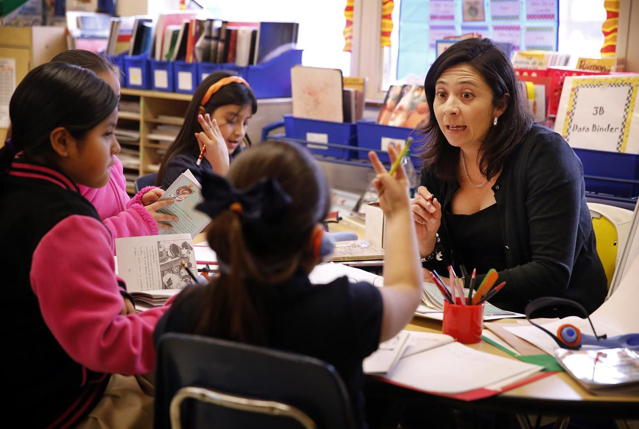 Harry C. Withers Elementary School teacher Irma De La Guardia teaches a dual language course for third graders.