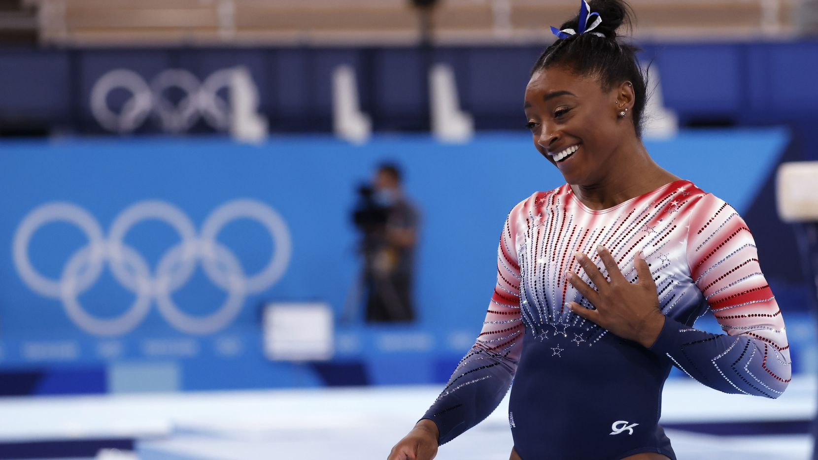 USA's Simone Biles after competing in the women's balance beam final at the postponed 2020 Tokyo Olympics at Ariake Gymnastics Centre, on Tuesday, August 3, 2021, in Tokyo, Japan. Biles placed third in the event, earning a bronze medal.