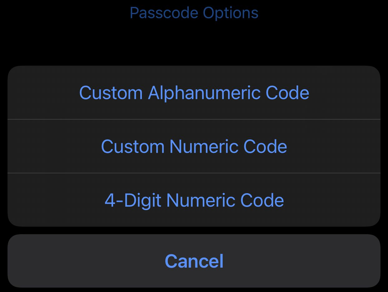 These options appear on the page where you set your iOS passcode.