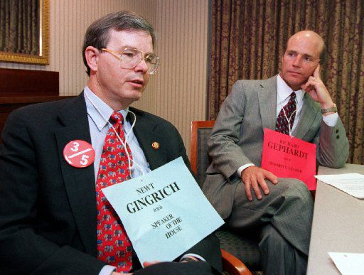 In this 1995 file photo, Rep. Joe Barton (left) and then-Rep. Pete Geren played roles in a mock Congress  that took place at American Airlines headquarters in North Texas.