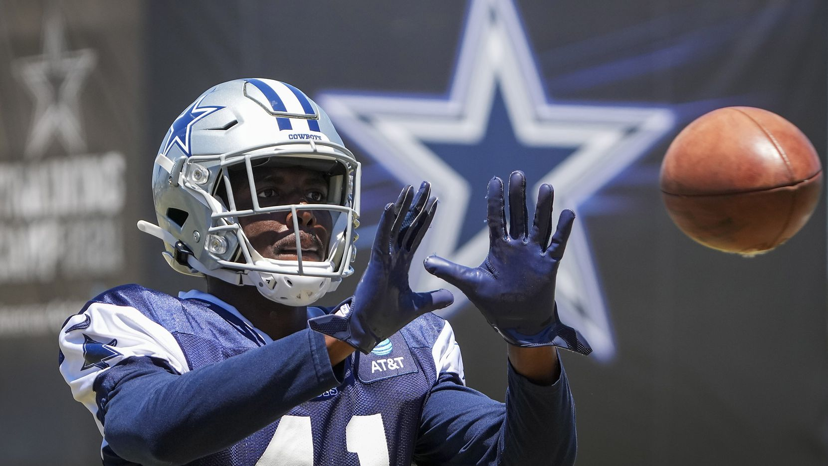 Dallas Cowboys cornerback Reggie Robinson II catches a ball during a practice at training camp on Sunday, Aug. 1, 2021, in Oxnard, Calif.