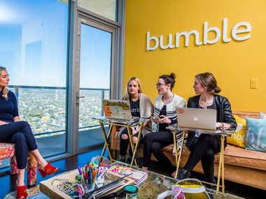 "FILE — Whitney Wolfe Herd meets with staffers at the offices of Bumble, her dating app startup, in Austin, Texas, Feb. 23, 2017. Seeking a site where users ""do not feel threatened,"" Bumble will ban images of firearms from its nearly 30 million users. (Drew Anthony Smith/The New York Times)"