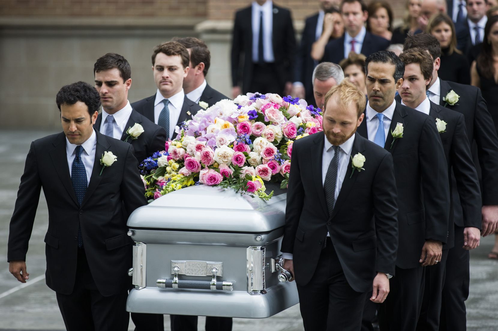 Pallbearers carry Barbara Bush's casket after her funeral at St. Martin's Episcopal Church in Houston.