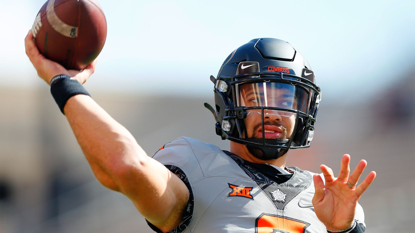 STILLWATER, OK - OCTOBER 24:  Quarterback Spencer Sanders #3 of the Oklahoma State Cowboys throws before a game against the Iowa State Cyclones at Boone Pickens Stadium on October 24, 2020 in Stillwater, Oklahoma.  (Photo by Brian Bahr/Getty Images)