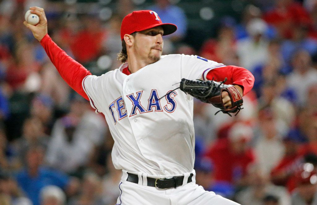 Texas Rangers relief pitcher Tanner Scheppers (52) is pictured during the Los Angeles Angels vs. the Texas Rangers major league baseball game at Globe Life Park in Arlington on Wednesday, September 21, 2016. (Louis DeLuca/The Dallas Morning News)