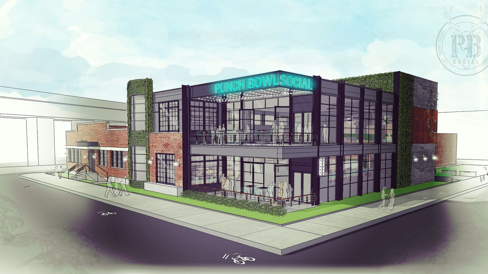 Artist's rendering of the future Punch Bowl Social location in Dallas' Deep Ellum district.