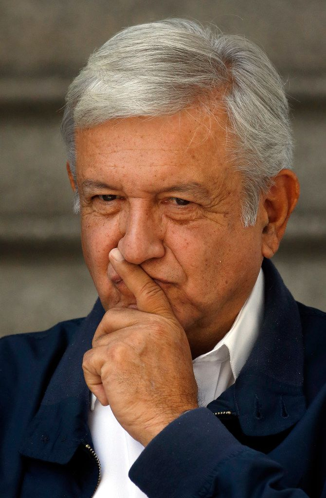 Mexico's President-elect Andres Manuel Lopez Obrador paused as he met with media outside his party's headquarters in Mexico City July 22. Lopez Obrador will meet with authorities and members of Juarez's civil society Tuesday as part of several peace and reconciliation forums across Mexico.