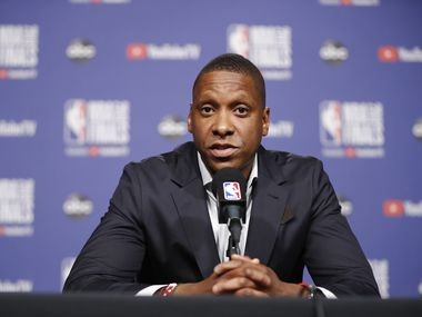 TORONTO, ON -  MAY 29: President Masai Ujiri of the Toronto Raptors addresses the media during practice and media availability as part of the 2019 NBA Finals on May 29, 2019 at Scotiabank Arena in Toronto, Ontario, Canada.