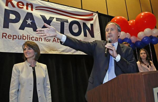 Ken Paxton and wife Angela attended a campaign rally in Frisco in 2014.