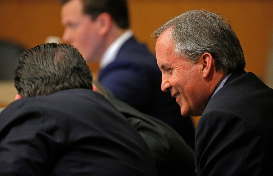 Texas Attorney General Ken Paxton, shown in court earlier this month, is scheduled to go on trial in Collin County on May 1.