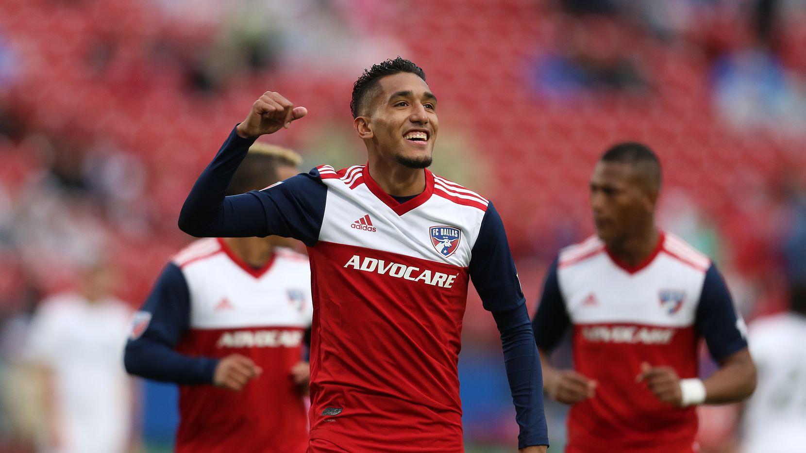 Jesús Ferreira celebra uno de sus goles este año con el FC Dallas.