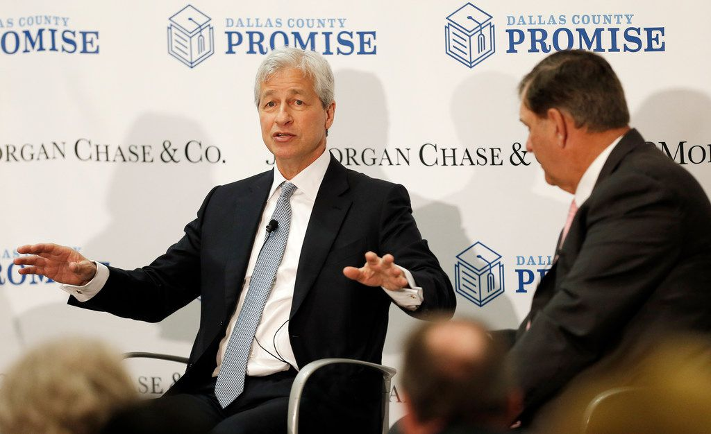 JPMorgan Chase Chairman and CEO Jamie Dimon (left) and Dallas Mayor Mike Rawlings participated Monday in a Q&A about a $3 million investment by JPMorgan Chase to the Dallas County Promise.