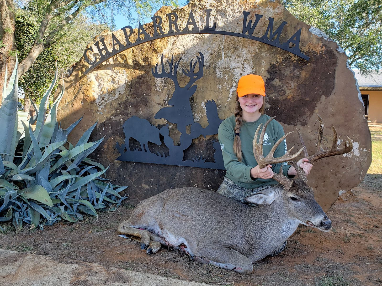 Youth hunter Katelyn Chappell of Commerce bagged this outstanding whitetail during a Youth Only draw hunt held last year at the Chaparral Wildlife Management Area in South Texas. The deer scored 169 6/8 B&C score.