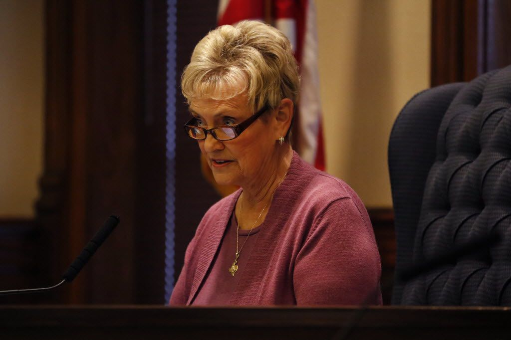 Judge Mary Horn at a Denton County Commissioners meeting at the Denton County Courthouse-on-the-Square in 2014.