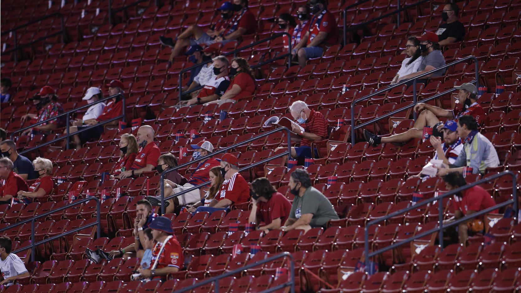 FC Dallas fans practice social distancing during first half action between FC Dallas and Sporting KC. The two teams, both members of the Western Conference of MLS, played their match at Toyota Stadium in Frisco on October 14, 2020.