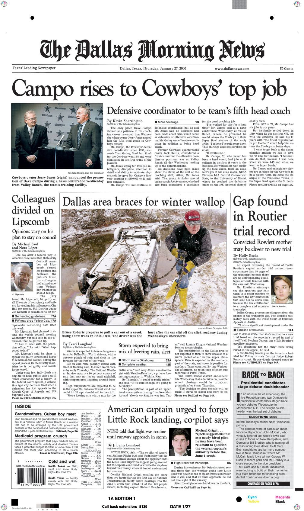 Front page of Jan. 27, 2000. 'Campo rises to Cowboys' top job.'