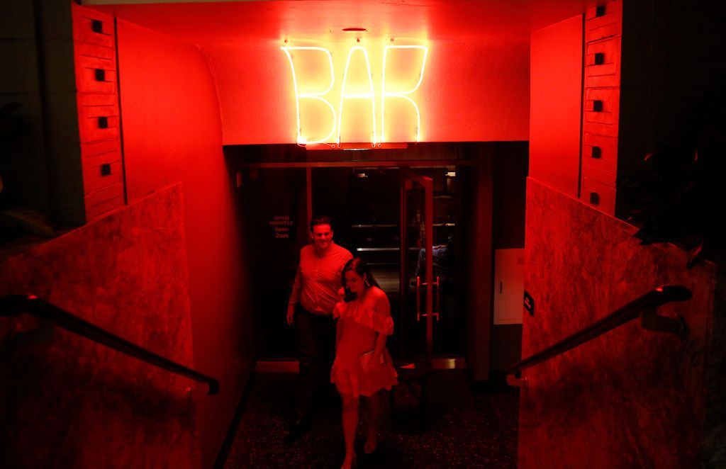 Anthony and Stefani Ferlan exit  Bourbon & Banter speakeasy inside The Statler Hotel in Dallas on Friday, March 16, 2018.