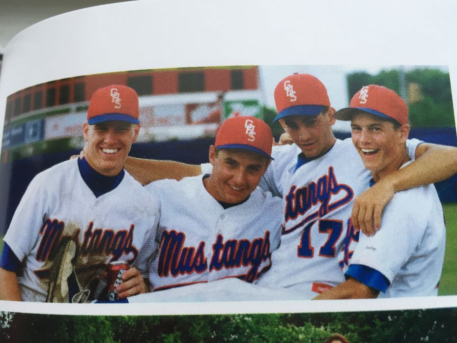 Chip Gaines (left) goofing off at Grapevine High School where he played baseball and graduated in 1993.