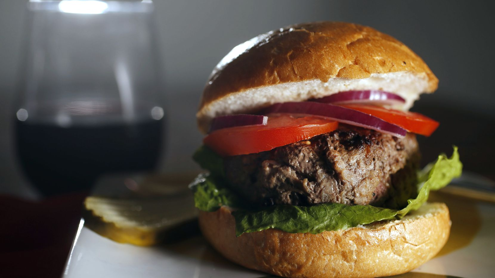 A basic grass-fed beef burger