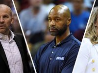 Rick Carlisle on Thursday resigned as Mavericks head coach after 12 seasons and one championship in Dallas. Jason Kidd (left), Jamahl Mosley (center), and Becky Hammon (right) are among early candidates to replace Carlisle in Dallas.  (Photos via Getty Images)